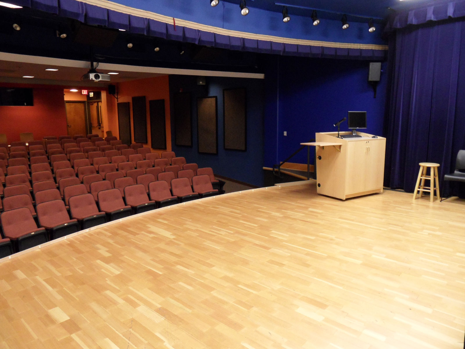The McLoughlin Auditorium, a large theatre space with dozens of seats, located at the Oregon City campus